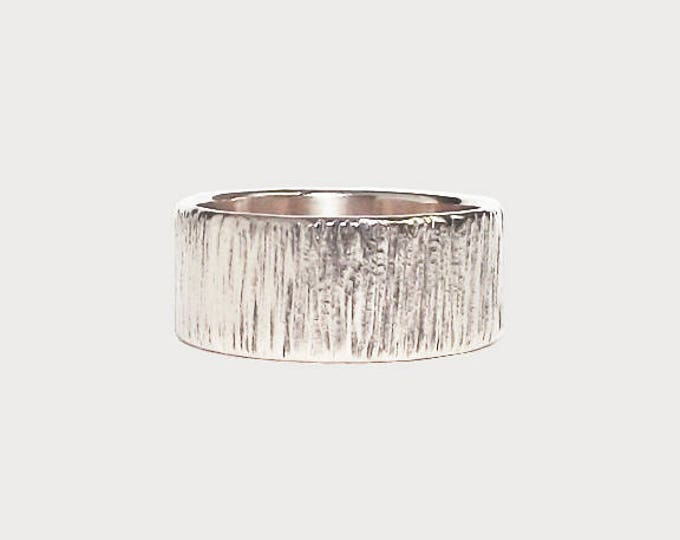 Carved Into Wood_  14K White Gold Wedding Band, Handmade Wedding Ring, Tree Bark Texture Wedding Band
