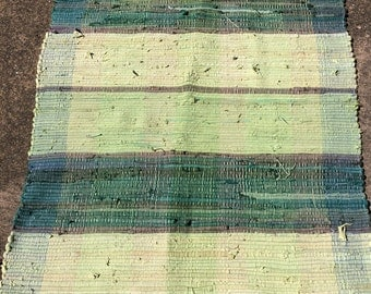 Lime Green and Dark Green Woven Cotton Rag Rug