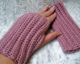 FREE SHIP - Crocheted set of Fingerless Gloves - Vanna's Choice Dusty Rose Pink Yarn - warm hands fingers free