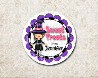 Personalized Halloween Stickers Sweet Treats Witch Stickers Party Favor Treat Bag Stickers SH024