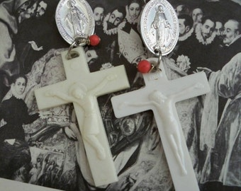 Vintage rosary necklace crucifix reclaimed into earrings - White acrylic - Coral bead - Mary medal - One of a Kind bycat