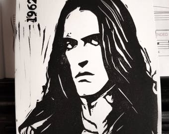 Type O Negative - Peter Steele - Limited Edition Original Handcrafted Linoleum Cut Print by Philip Crow