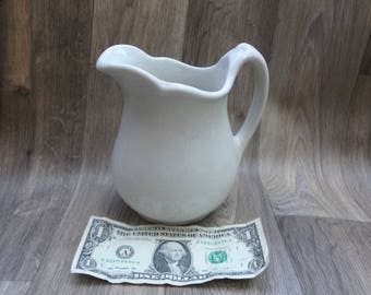 Vintage White Porcelain Pitcher Sterling China Brand East Liverpool Ohio Good Condition 6 And 3/4 Inches Tall X 3.5 Inches Wide Holds 20 Oz