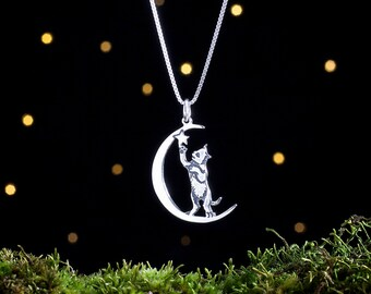 Sterling Silver Cat in the Moon - Double Sided - (Pendant, Necklace, or Earrings)