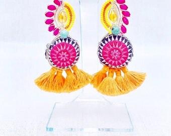 Fringe, Pom Pom and Beaded Earrings (Super Lightweight!)- Anakena