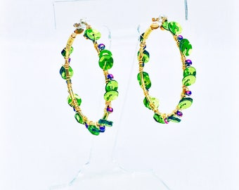 Hoop Earrings- Crystal & Sequin; Your New Favorite Earrings (Plum, Mint and Gold)
