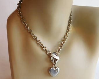 Vintage St John Goldtone Toggle Heart Necklace w/ Rhinestones - Heart Charm on Thick Chain 16 Inches - Haute Couture Faux Gold Classic