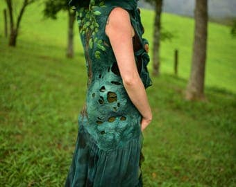 Felt Melted Queen Of the Pixies Woodland Tree Of Life Vest-Woodland Gown with Holes And High Collar-Pixie Princess Gown- OOAK