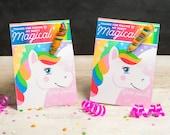 Unicorn Horn Birthday Party Favor Cards Twisty Rainbow Lollipop Sucker Cute Girly Sparkles and Hearts Printable DIY Easy Sucker Holder