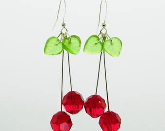 Crystal Cherry Earrings_Rockabilly_Swing Dance Jewelry_Light Earrings_Statement Jewelry_Gift for Her_Mother's Day Gift