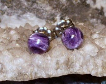 Natural Charoite 6mm Round Stud Type Earrings Earings Titanium Hypo Allergenic Handmade in Newfoundland Rich