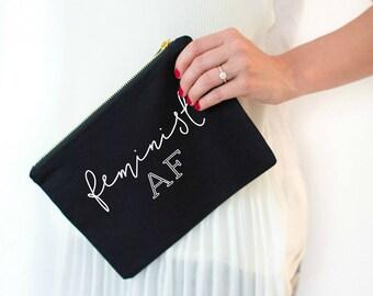 feminist AF, feminist, feminism, girl gang, girl power, cosmetic bag, girl pwr, girl boss, makeup bag, gift for her, feminist shirt
