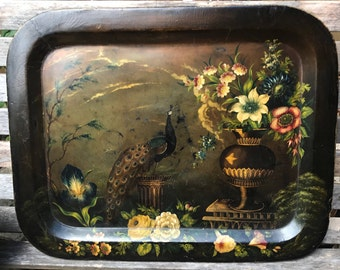 1800s Victorian Papier Mache Lacquer Hand-Painted Peacock Tray