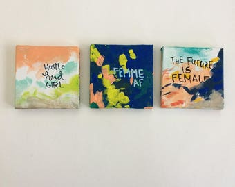 Three mini feminist paintings series F - bright colors - bold art- unbreakable - the future is female - vive le feminisme