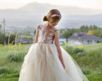 New! The Juliet Dress in Champagne Sequins - Flower Girl Dress