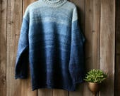 Thick Wool Sweater Blue Bands Hombre Color Womens Large Vintage Karen Scott From Nowvintage on Etsy