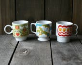 Three 60s Mugs Porcelain Floral Prints Two made in Japan Mid Century Modern Vintage From Nowvintage on Etsy