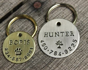 Dog ID tag - Handstamped Identification tag for dog collar