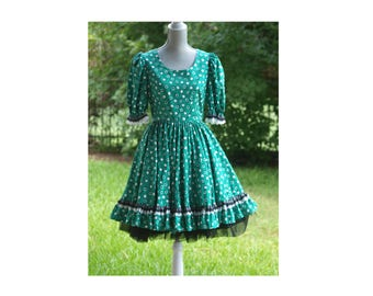 Rockabilly Green Prairie Dress - Square Dance - Steampunk - Gothic Lolita