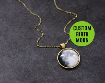 Custom Bronze Birth Moon Necklace - Personalised Moon Phase Necklace Glass Dome full moon Pendant Birthday Birthstone