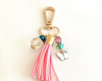 tassel bag charm, pink tassel purse charm, clip on keychain tassel, butterfly bag clip, beaded boho tassel, gold tone