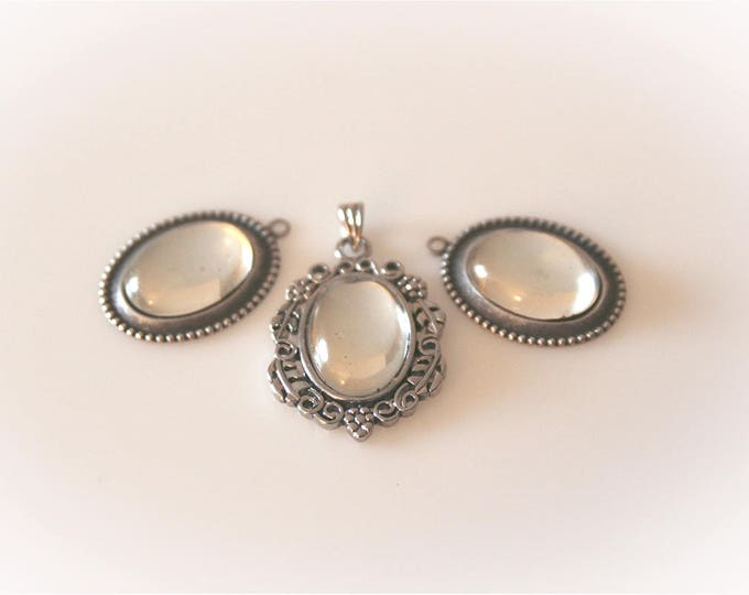 Victorian Glass Cabochon Pendants - Set of Three. Clear Mirror Finish with Antique Silver Setting. Jewelry & Craft Supply