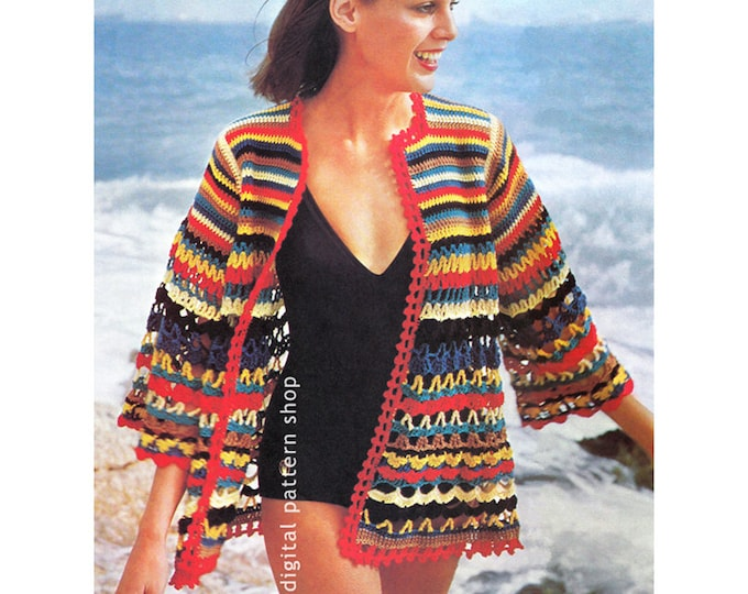 Crochet Pattern Beach Cover Up Womens Jazzy Swimsuit Beach Jacket Instant Download
