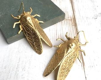 Gold Beetle Earrings Large Cicada Beetle Jewelry Nature Study Victorian Cicada  Entomologist Summer Bug Statement Earrings
