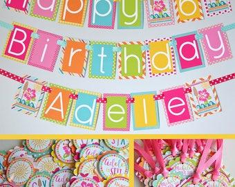 Hawaiian Birthday Party Decorations Package Fully Assembled | Hawaiian Luau Birthday | Beach Birthday | Summer Birthday | Fun in the Sun |