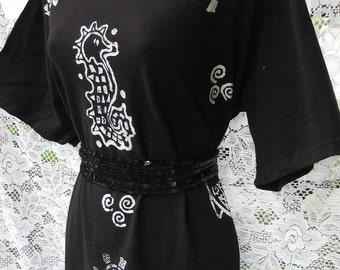 plus size Cotton Summer Dress SEAHORSES TURTLES and FISH dress, black white dress, Nautical sailor dress theme