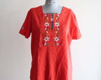 Lovely red EMBROIDERED flower hippie boho festival top sz. 36 Small