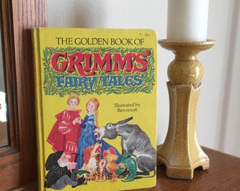 The Golden Book of Grimm's Fairy Tales - Children's Book - Nursery Decor - Vintage Book - Yellow Book - Collectible -  1977