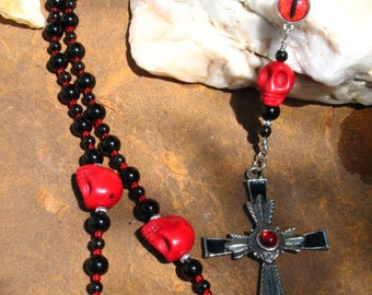 Gothic Black and Red Rosary with Skulls and Eye