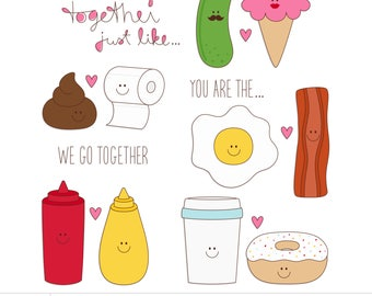 Just Like... 2 Digital Clipart Clip Art Illustrations - instant download - limited commercial use ok