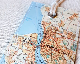 Liverpool England luggage tag made with original vintage map