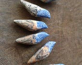 Wild Songbird Beads - handpainted batik polymer clay wild song bird pendant beads (ready to ship)