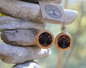 Red Cedar Tribal Tree Earrings- Wooden Earrings- - Natural Wood Jewelry- Eco Earrings
