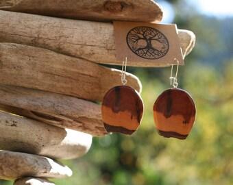 Mountain Mahogany Earrings- Wooden Earrings- - Natural Wood Jewelry- Eco Earrings