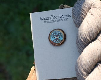 Turquoise Inlay Wood Button- Wooden Button with Inlay Turquoise- Crafting, Sewing, Knitting Buttons