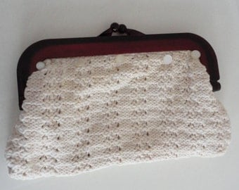 50s Brown Clear Lucite Frame/Cream Knitted Cotton Clutch Purse Vintage