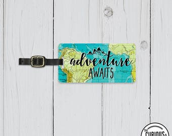 Luggage Tag Adventure Awaits Vintage Map Metal Luggage Tag  With Printed Custom Info On Back, Single Tag   Version 1