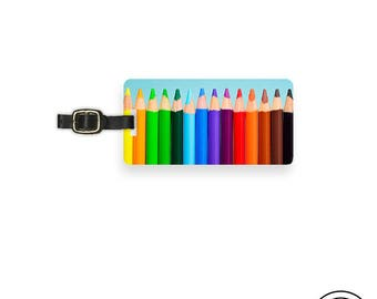 Luggage Tag Colored Pencil Rainbow Metal Luggage Tag With Custom Info On Back  Single Tag  Great Gift