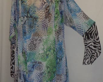 Coco and Juan, Plus Size Tunic, Lagenlook, Blue Snake Print Chiffon, Asymmetrical Plus Size Tunic Top, Size 2 (fits 3X,4X)   Bust 59 inches
