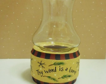 Hurricane Lamp Tole Painted With Verse From Psalms    Oil Lamp With Northwoods Cabin Design