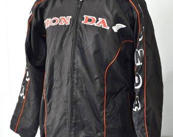 80s Honda Racing Jacket Motorcycle Bike Cycle Fuzzy Lining Black Red Stripes Coat Ladies Large