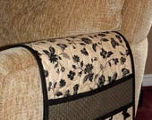 Quilted Armchair Caddy, Bedside Caddy, Butterfly, Black and Beige