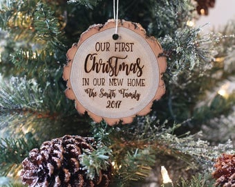 Our First Christmas In Our New Home Personalized Rustic Wood Christmas Ornament Housewarming Party Engraved Family Gift