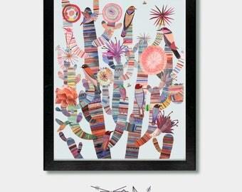 Cactus Prints. Modern Tribes. Bird Art, Mexican Art, Mexico, Arizona, Texas, Tucson, Southwest, Southwestern, Cactus Art, Nevada, Desert,