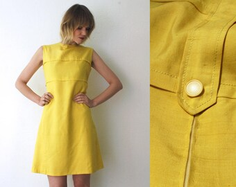 60s yellow dress. mod shift dress. raw silk dress. neon lemon knee length dress - medium