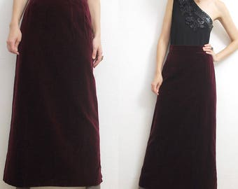 60s 70s burgundy velvet maxi skirt. cotton velvet skirt. column skirt - small